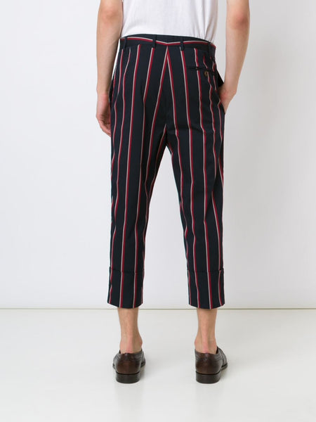 VIVIENNE WESTWOOD MAN  Striped Cropped Trousers - 4