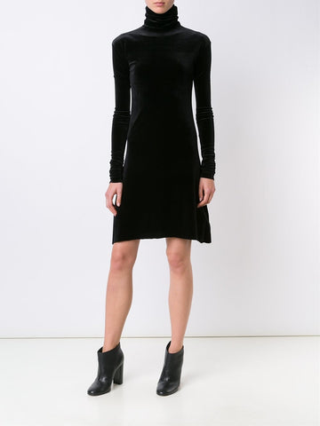 Velour Polo-Neck Dress