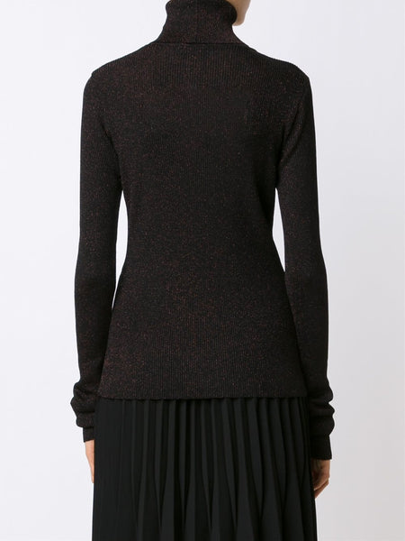 MARIOS  Shimmery Ribbed Turtleneck Sweater - 4
