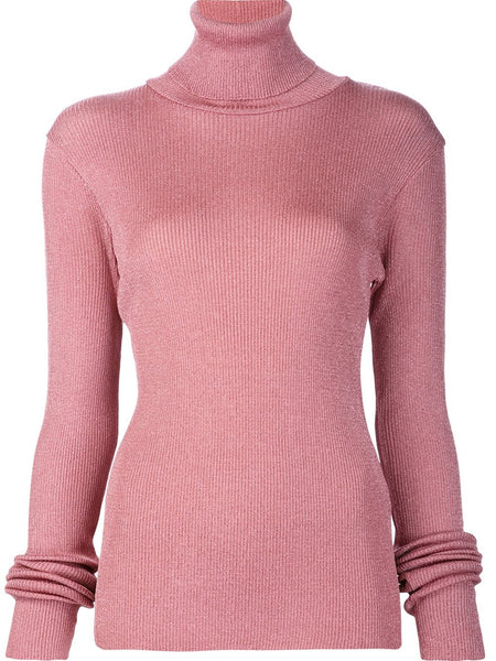 MARIOS  Shimmery Ribbed Turtleneck Sweater - 1