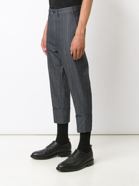 VIVIENNE WESTWOOD MAN  Striped Cropped Trouser - 3
