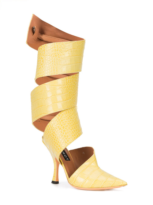 Y/Project SS18 Yellow Croc Spiral Mules - 2