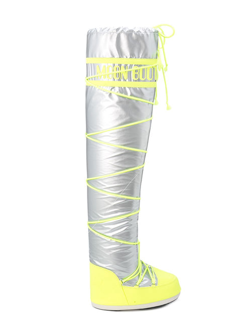 odd92 Jeremy Scott x Moonboot Silver Fluro Yellow Tall Moonboots - 1
