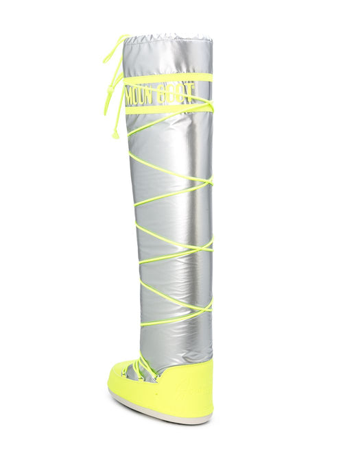 odd92 Jeremy Scott x Moonboot Silver Fluro Yellow Tall Moonboots - 2