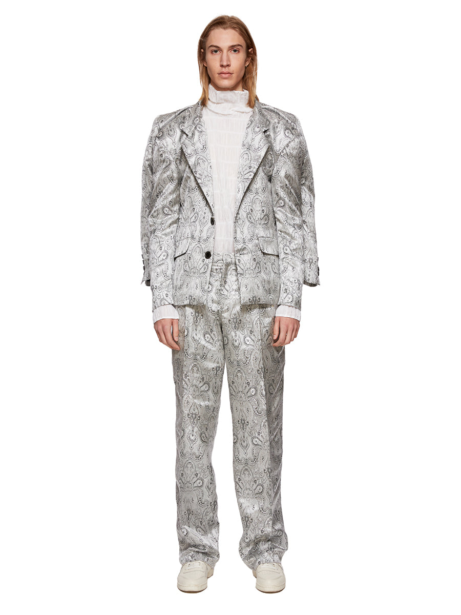 Y/Project Silver Paisley Boxy Suit Trousers - 6