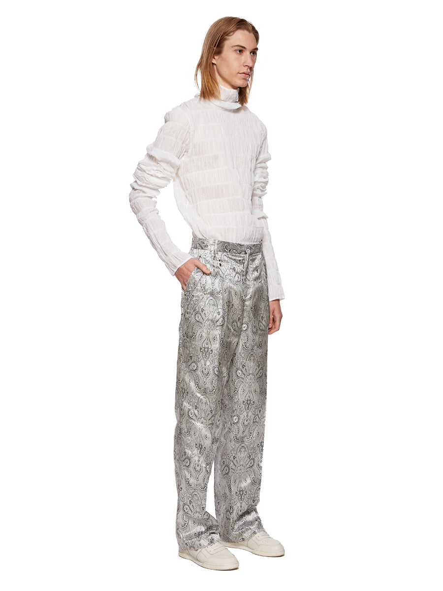 Y/Project Silver Paisley Boxy Suit Trousers - 5