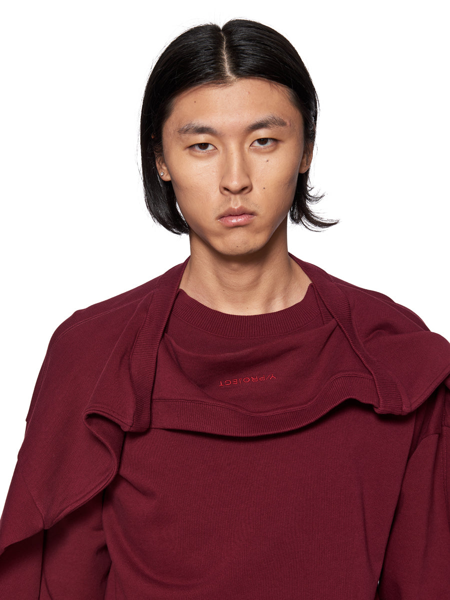 Y/Project Double Shoulder Sweatshirt Burgundy - 2