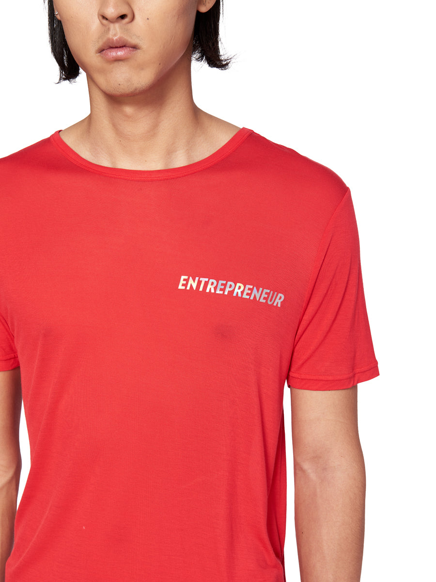Chin Mens Red Entrepreneur Graphic T-Shirt - 2