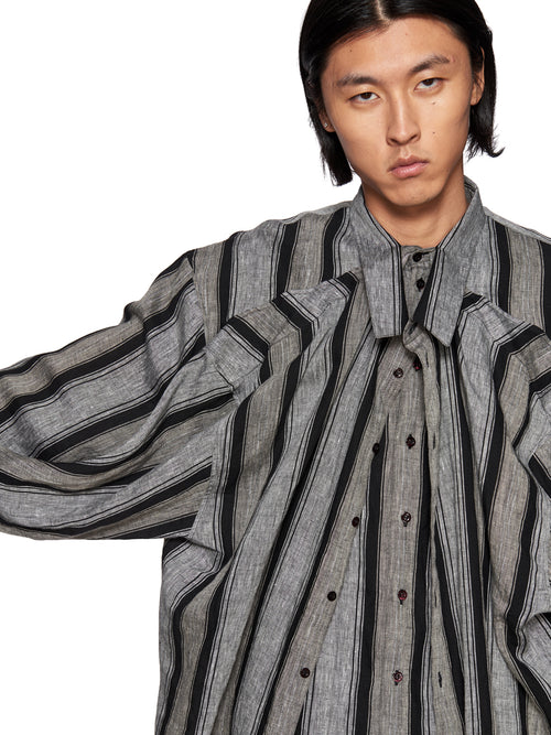 Y/Project Grey and Black Striped Linen Double Layer Shirt - 2