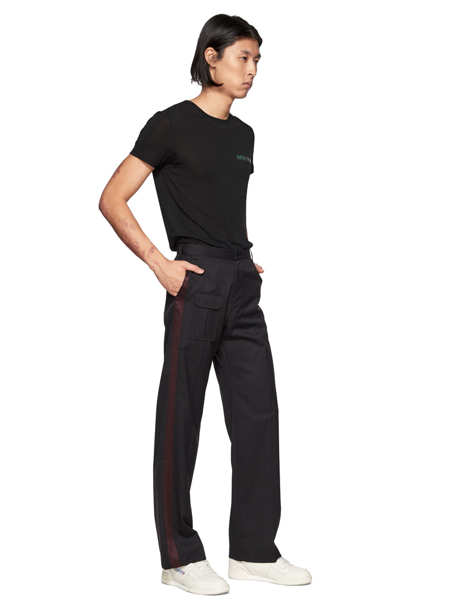 Chin Mens Black Stripe Suit Trousers - 5