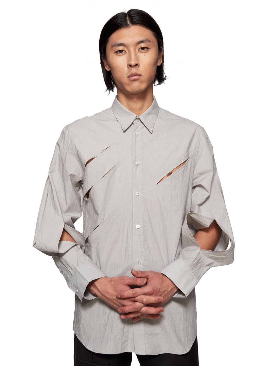 Chin Mens Grey Slashed Shirt - 2