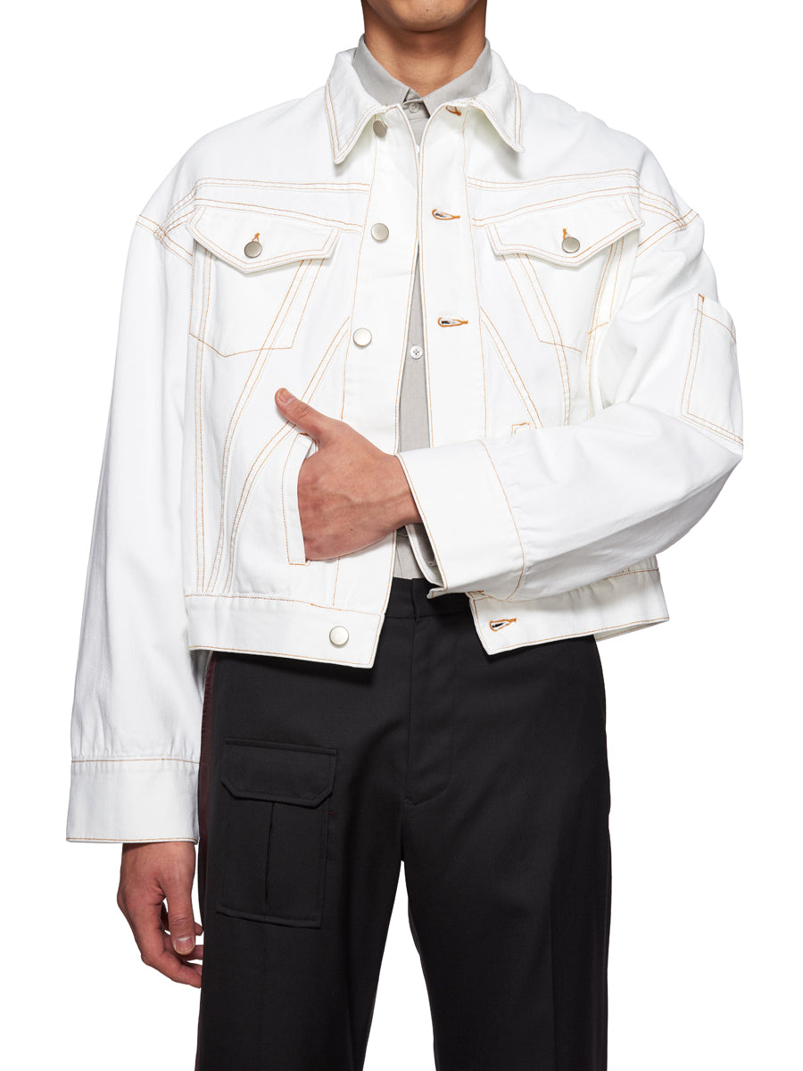 Chin Mens White Denim Jacket - 5