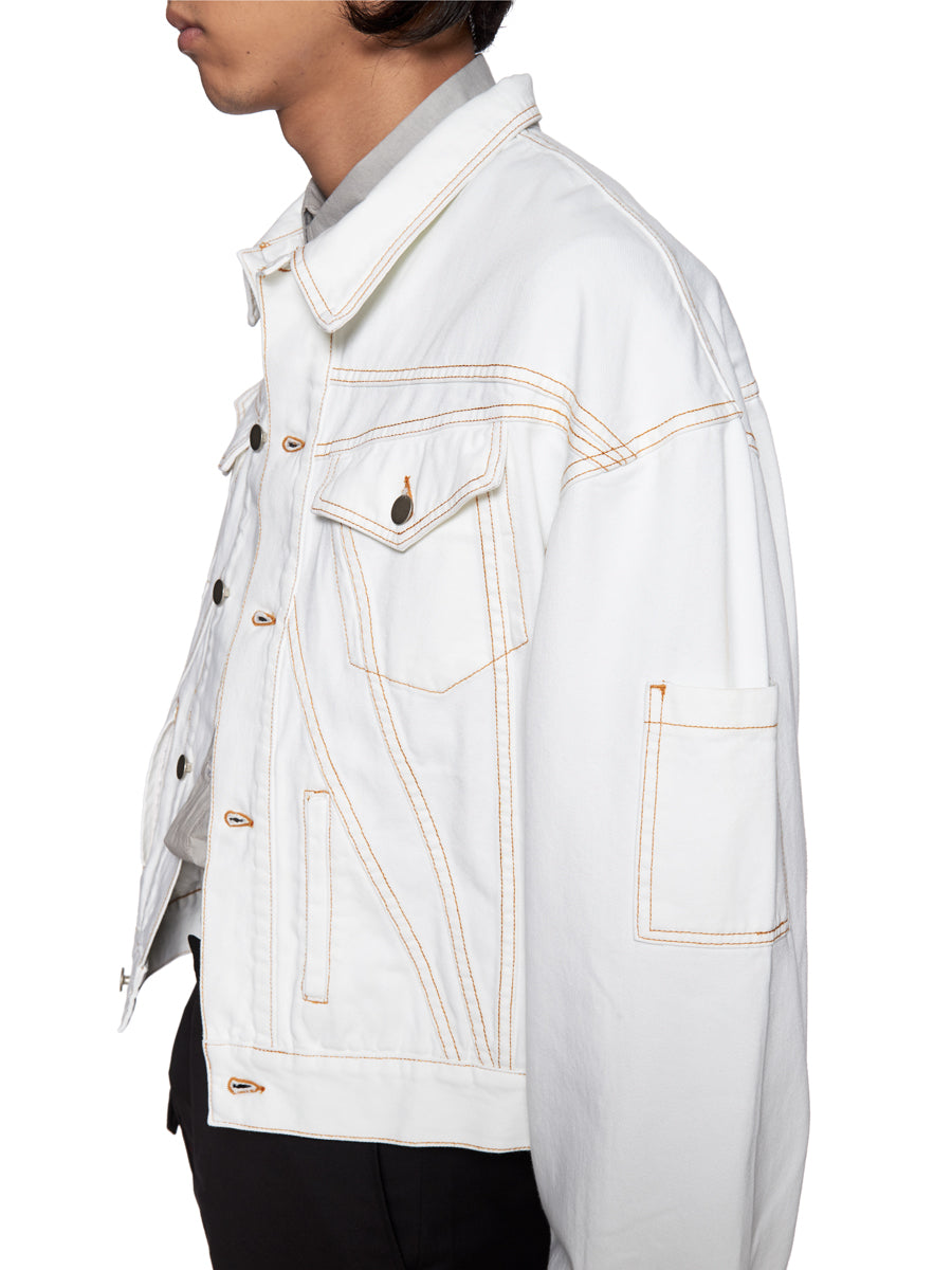 Chin Mens White Denim Jacket - 6