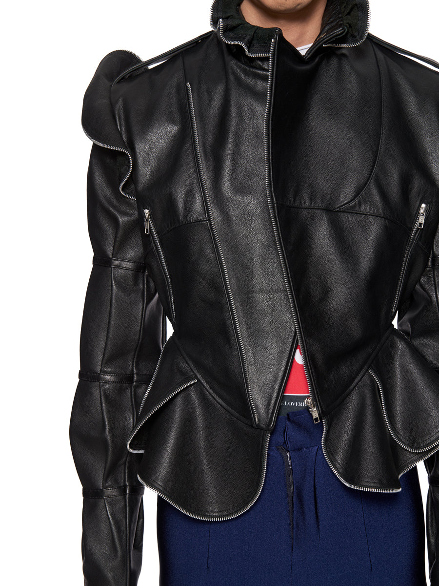 Charles Jeffrey Loverboy Burtha Leather Biker Jacket - 2
