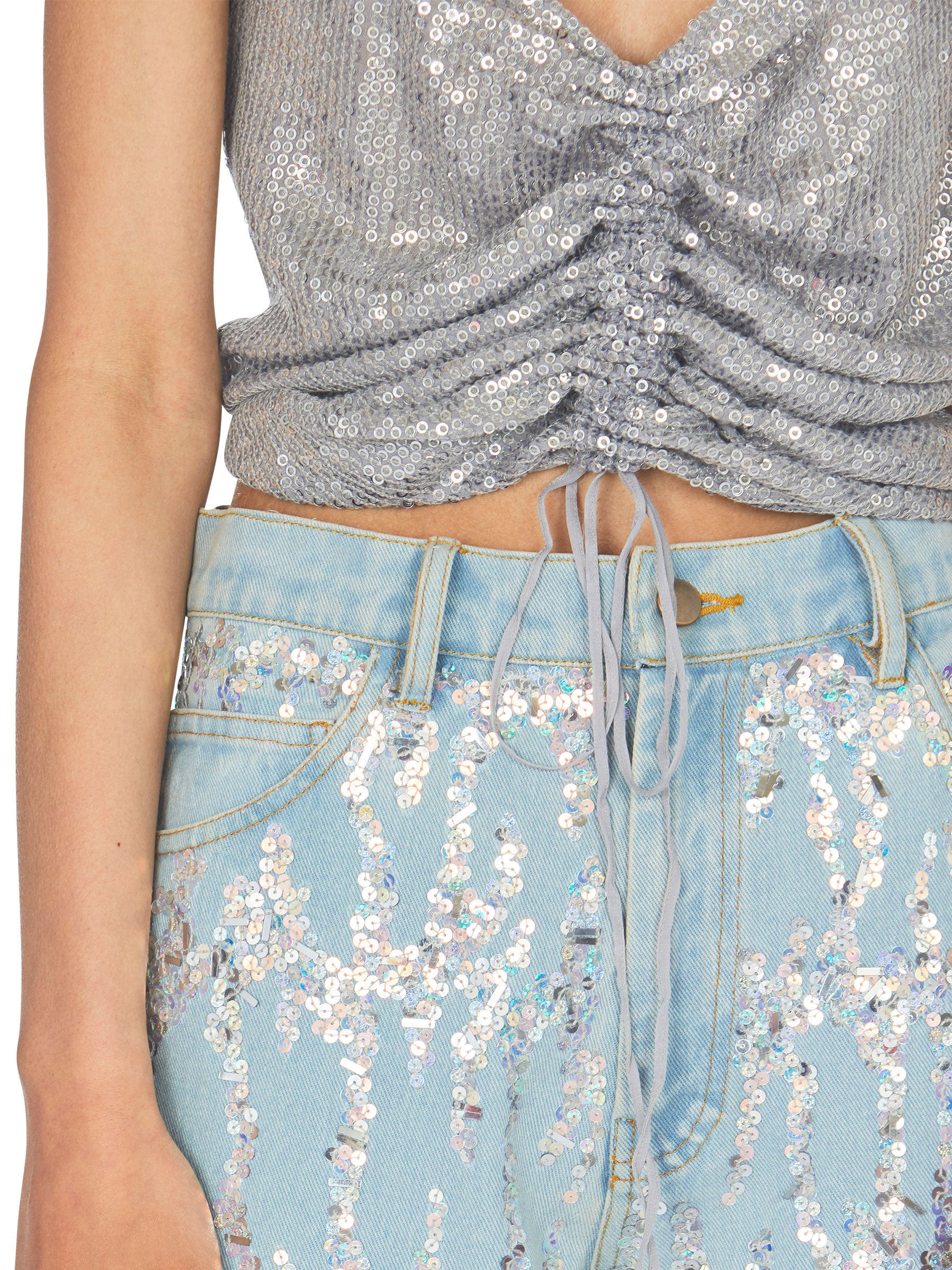 odd92 Ashish Unisex Embroidered Denim Jeans Sequins Spring/Summer 2019 - 5