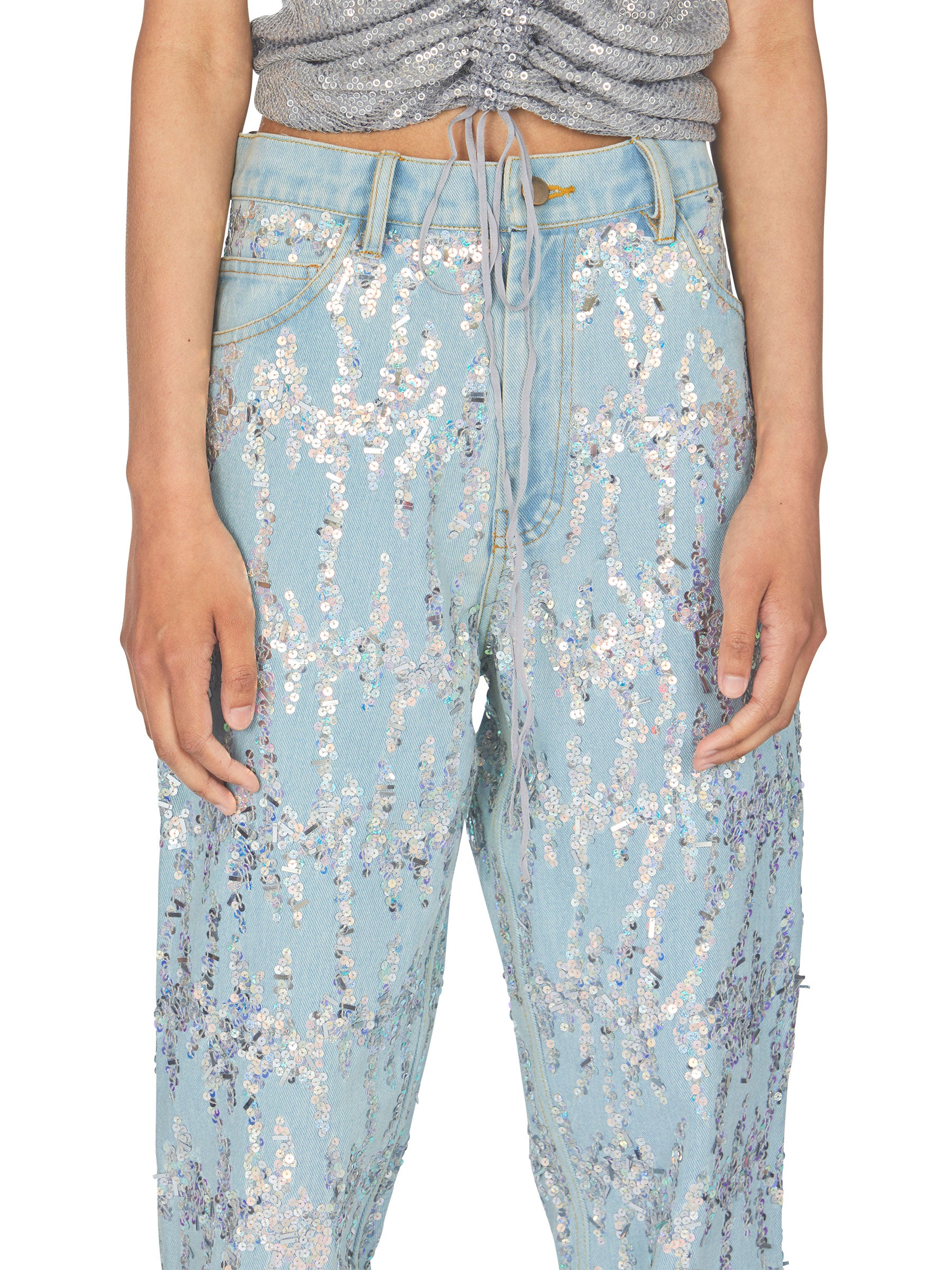 odd92 Ashish Unisex Embroidered Denim Jeans Sequins Spring/Summer 2019 - 6