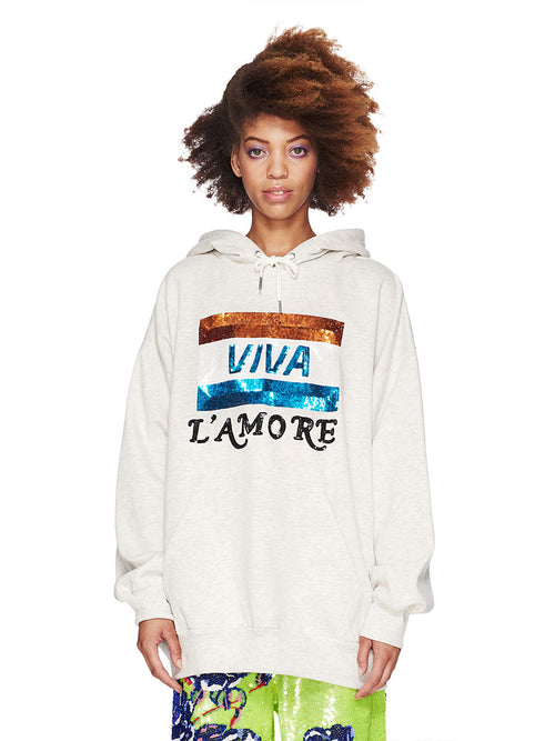 Ashish Fall/Winter 2018 Unisex Viva L'Amore Beaded Hoodie odd92 - 2