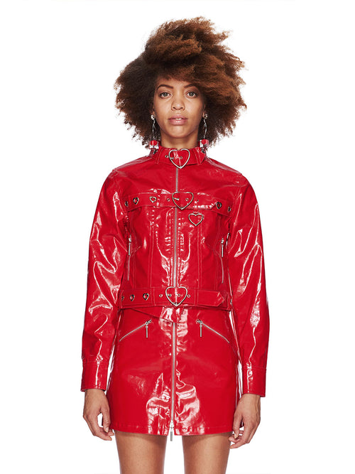 Adam Selman Fall/Winter 2018 Womenswear Red Patent Jean Jacket odd92 - 1
