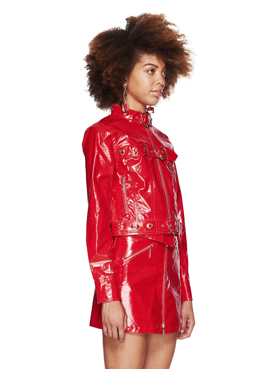 Adam Selman Fall/Winter 2018 Womenswear Red Patent Jean Jacket odd92 - 3