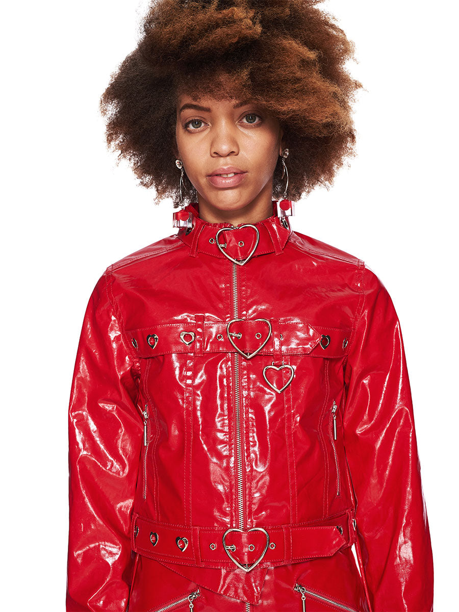 Adam Selman Fall/Winter 2018 Womenswear Red Patent Jean Jacket odd92 - 5