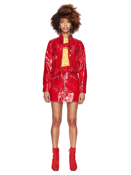 Adam Selman Fall/Winter 2018 Womenswear Red Patent Jean Jacket odd92 - 2