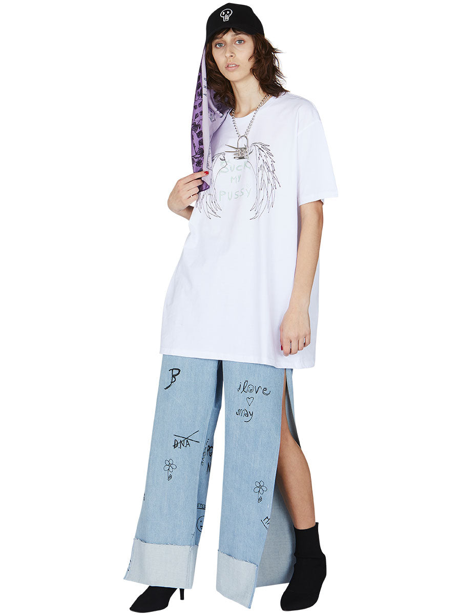 odd92 Barbara Bologna White Oversized Graphic T-Shirt Spring/Summer 2019 Womenswear - 3