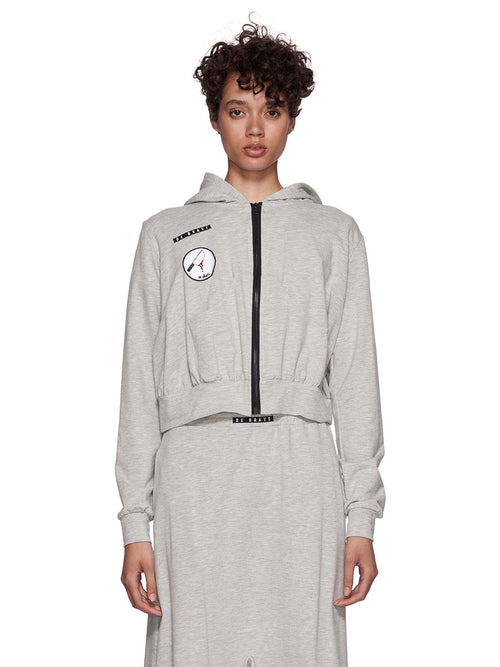 Barbara Bologna Grey Frill Patch Hoodie - 1