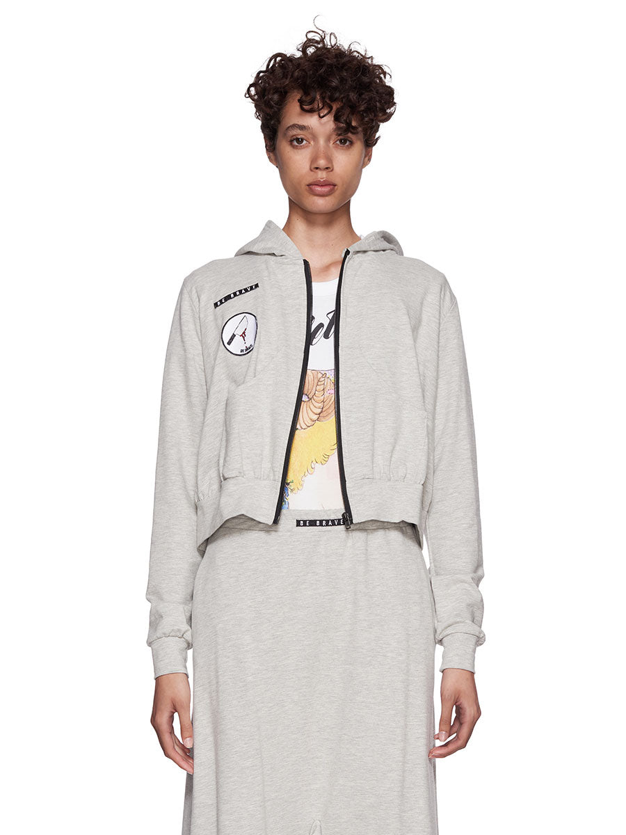Barbara Bologna Grey Frill Patch Hoodie - 4