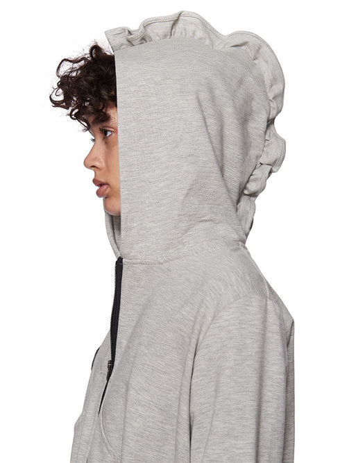 Barbara Bologna Grey Frill Patch Hoodie - 2