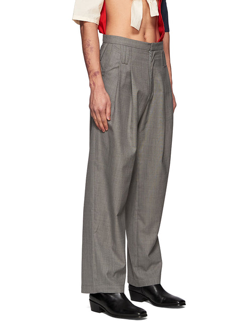 Chin Mens Grey Belt Loops Trousers - 2
