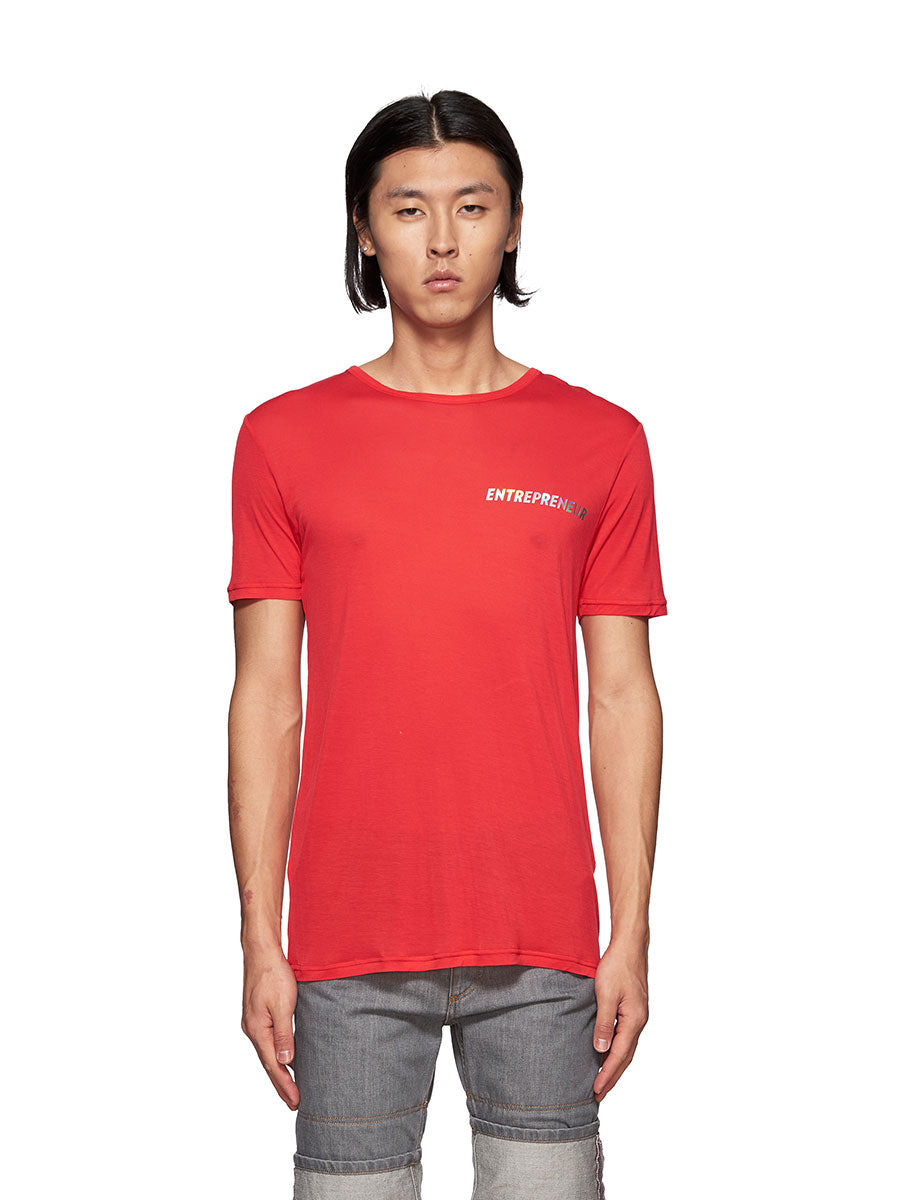 Chin Mens Red Entrepreneur Graphic T-Shirt - 1