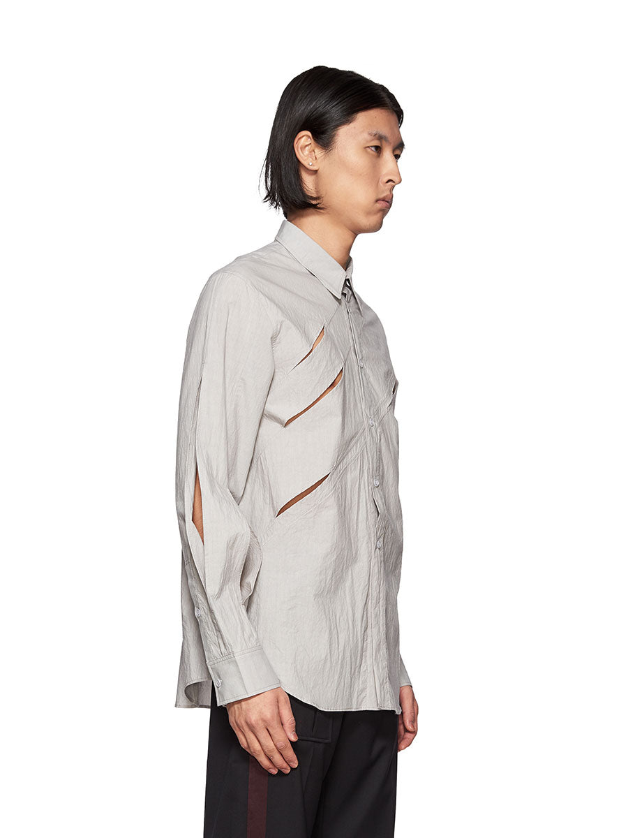 Chin Mens Grey Slashed Shirt - 3