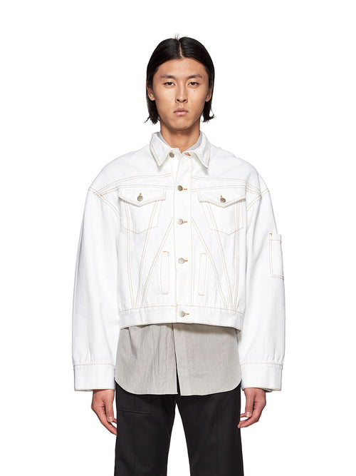 Chin Mens White Denim Jacket - 1