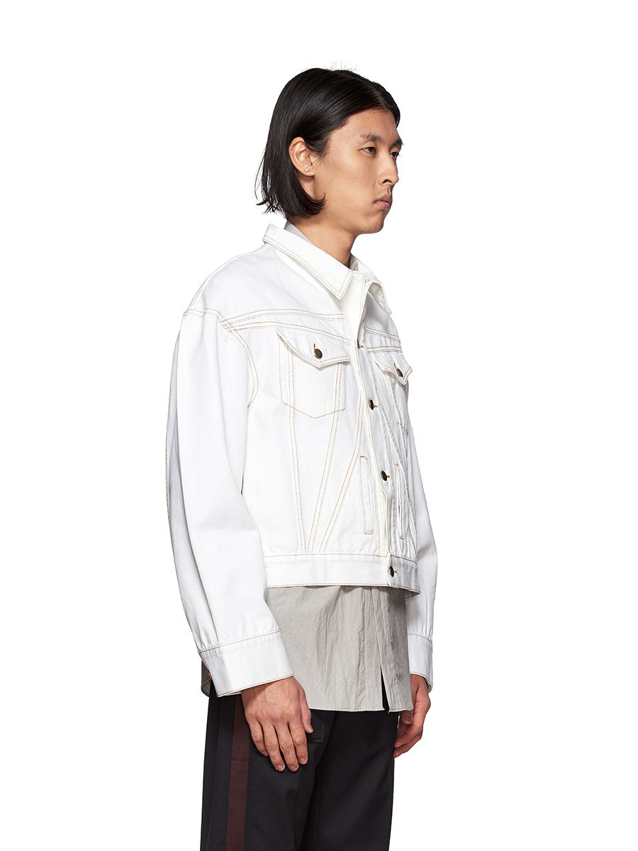 Chin Mens White Denim Jacket - 3