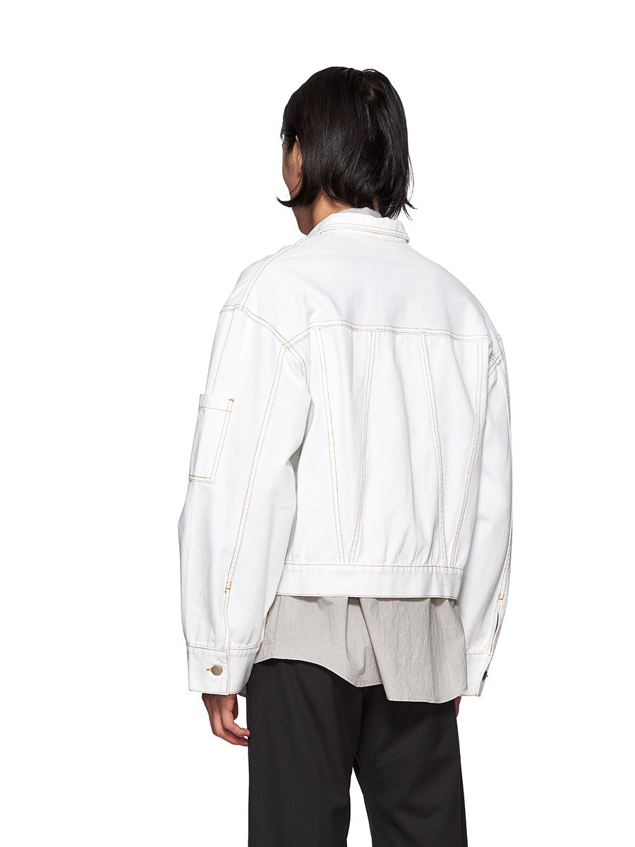 Chin Mens White Denim Jacket - 2