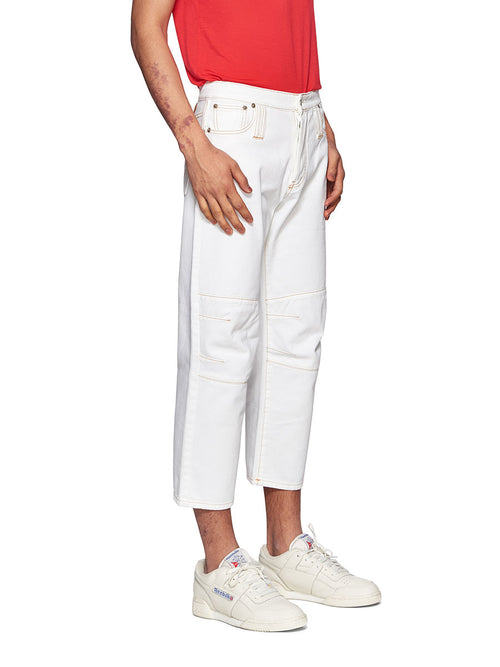 Chin Mens White Knee Dart Jeans - 2