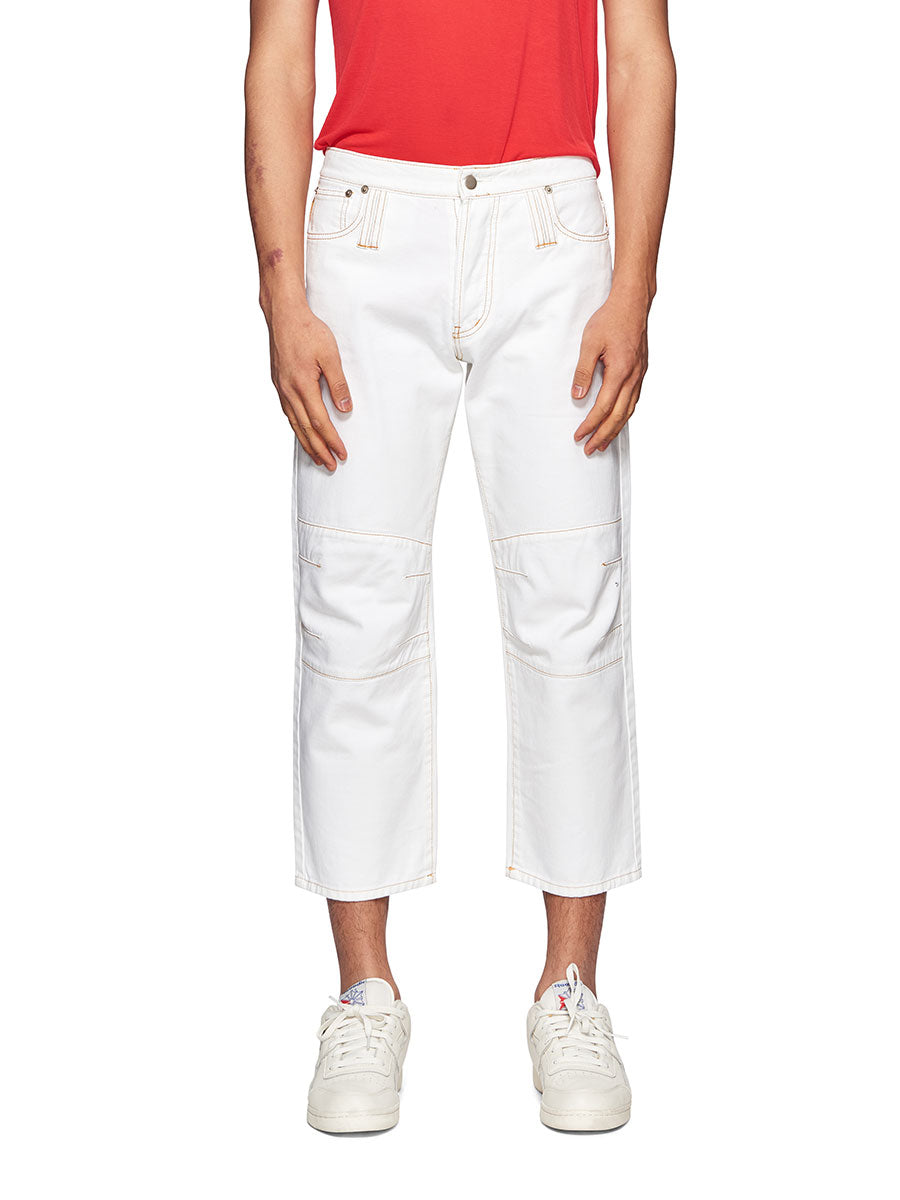 Chin Mens White Knee Dart Jeans - 1