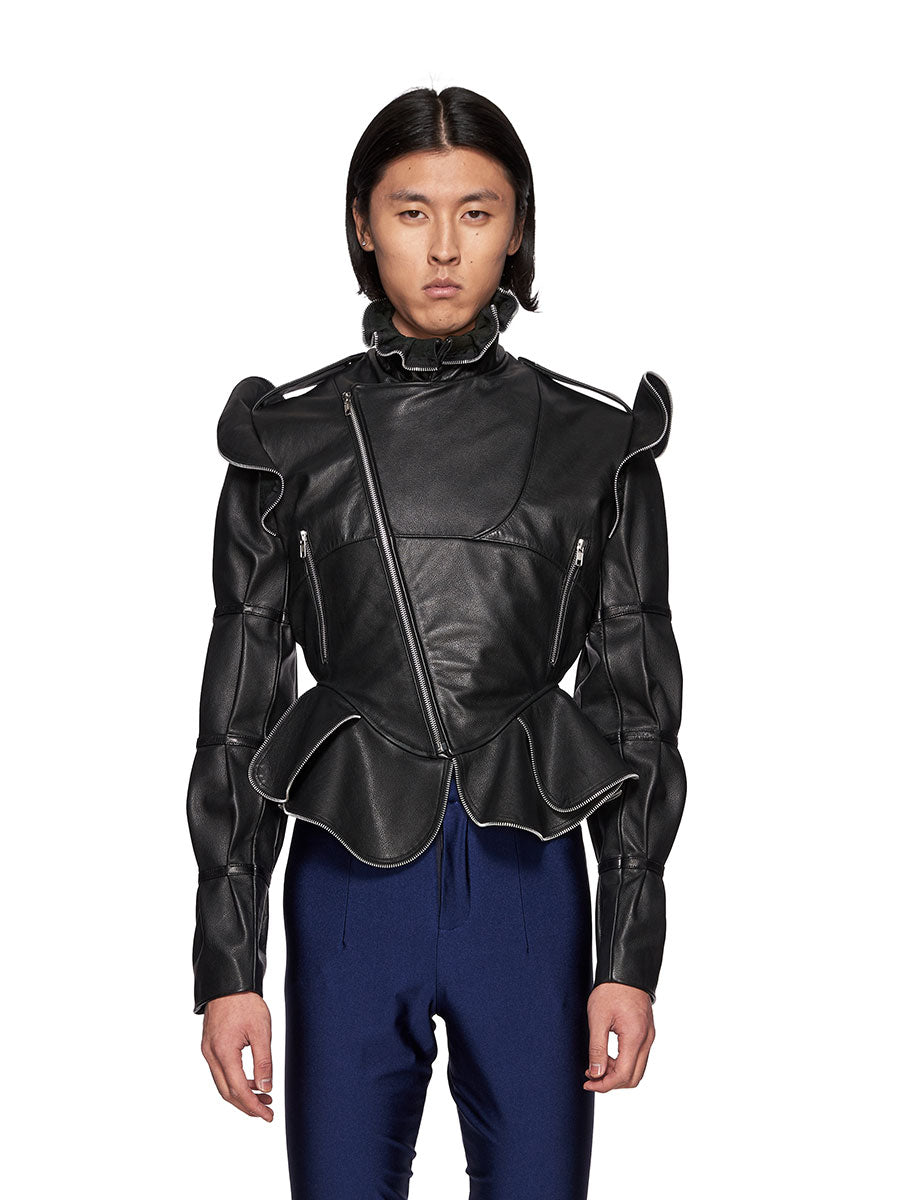Charles Jeffrey Loverboy Burtha Leather Biker Jacket - 1