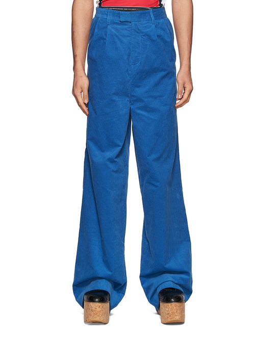 Charles Jeffrey Loverboy Super High Waist Trousers Blue Corduroy - 1