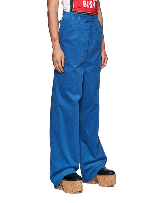 Charles Jeffrey Loverboy Super High Waist Trousers Blue Corduroy - 2