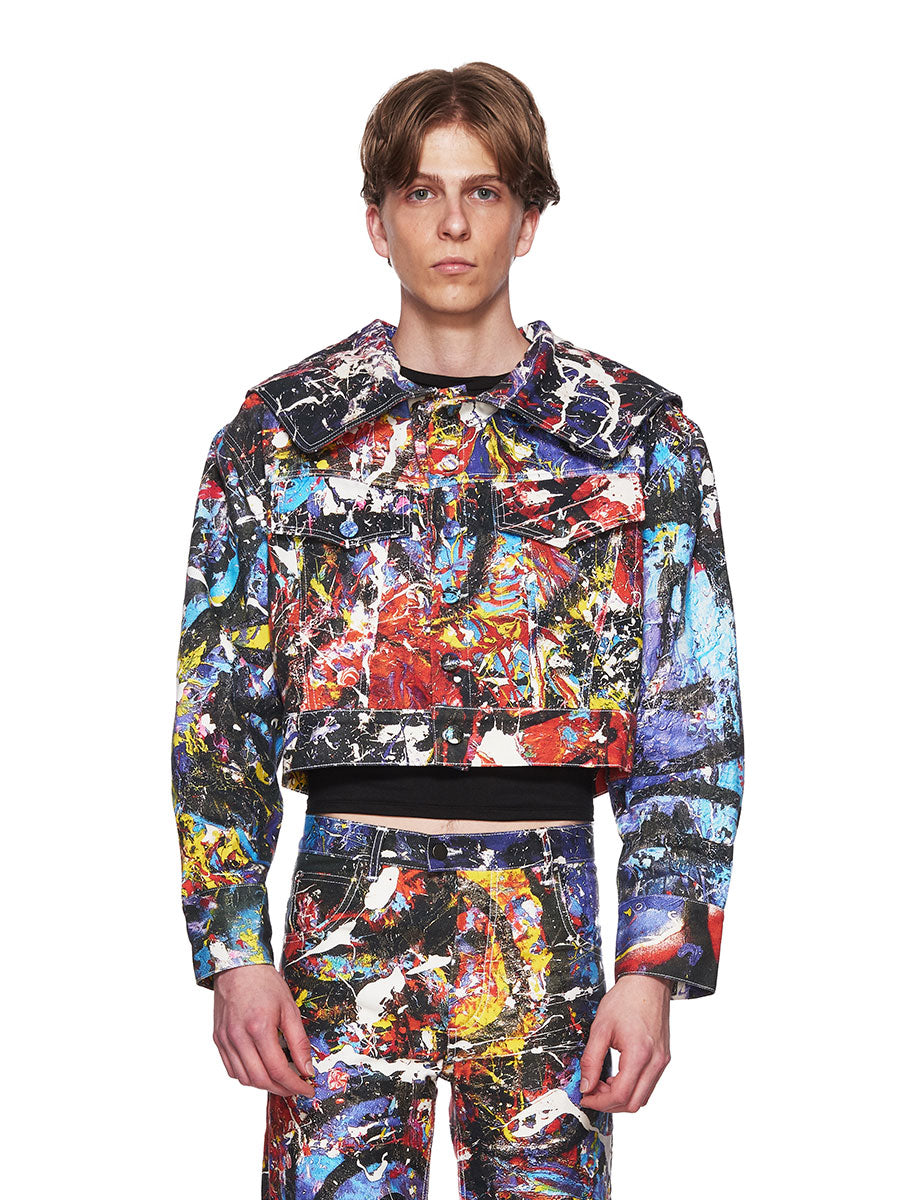 Charles Jeffrey Loverboy C-Back Painted Denim Jacket - 1
