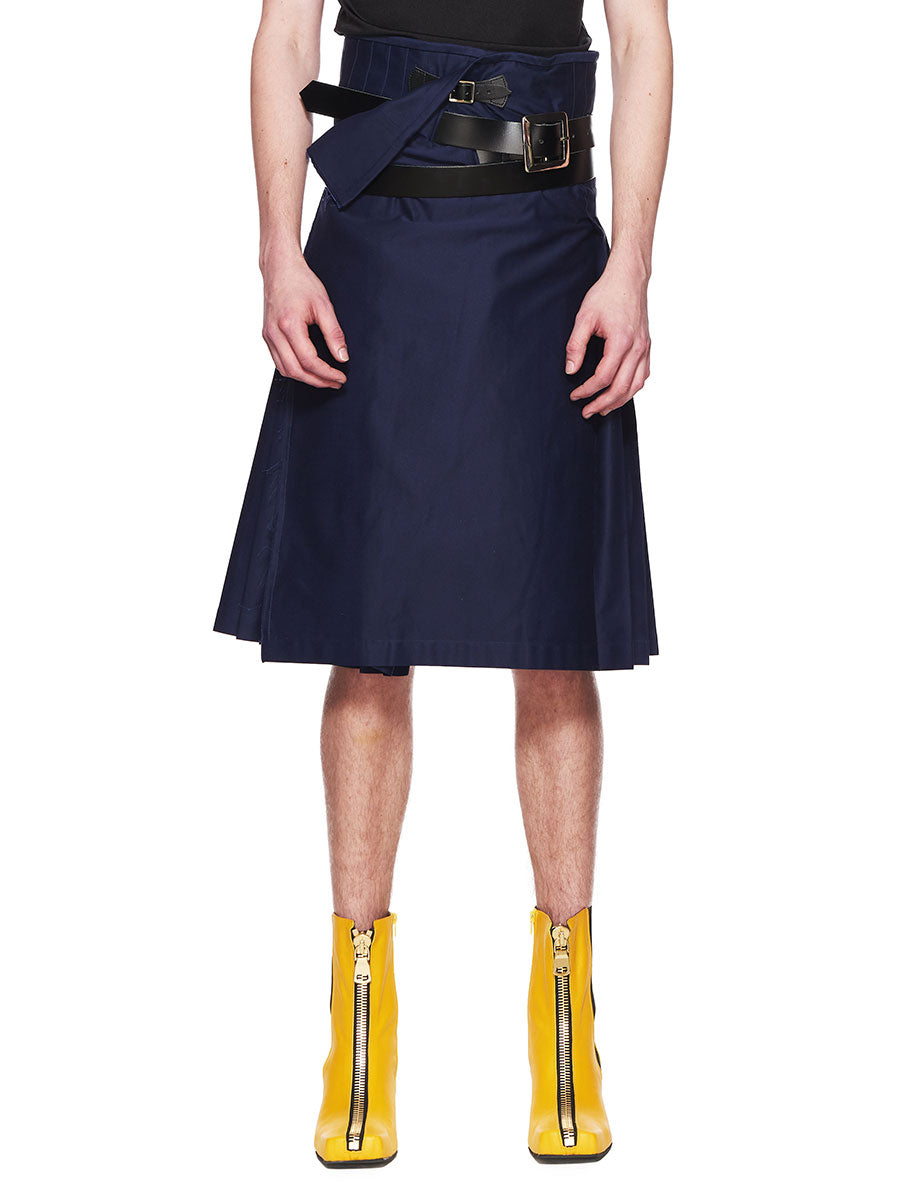 Charles Jeffrey Loverboy Navy Blue Wraparound Kilt FW18 - 1