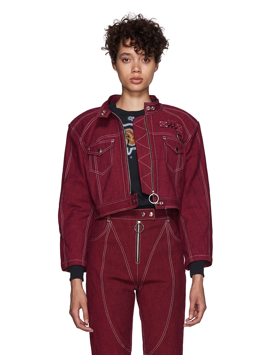 Hardeman SS18 Red Denim Biker Jacket - 2