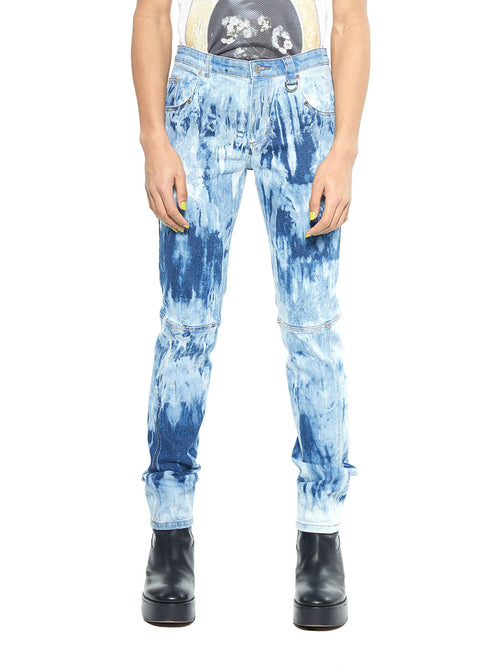 Icosae bleach blue and white marble panel leg jeans - 1