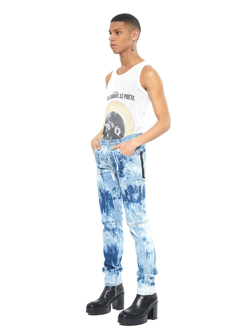 Icosae bleach blue and white marble panel leg jeans - 2