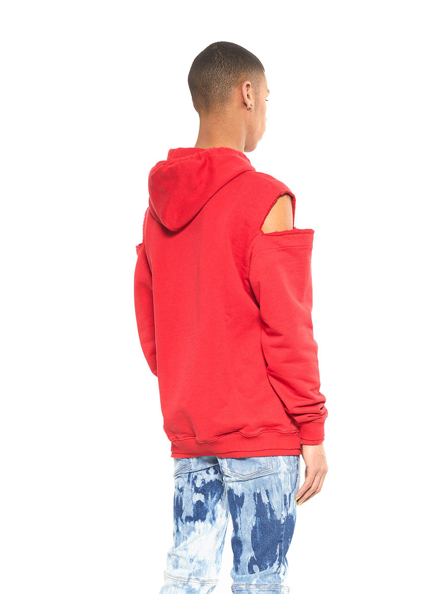 Icosae red shoulder cut-out hoodie - 3