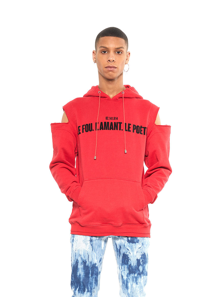 Icosae red shoulder cut-out hoodie - 1