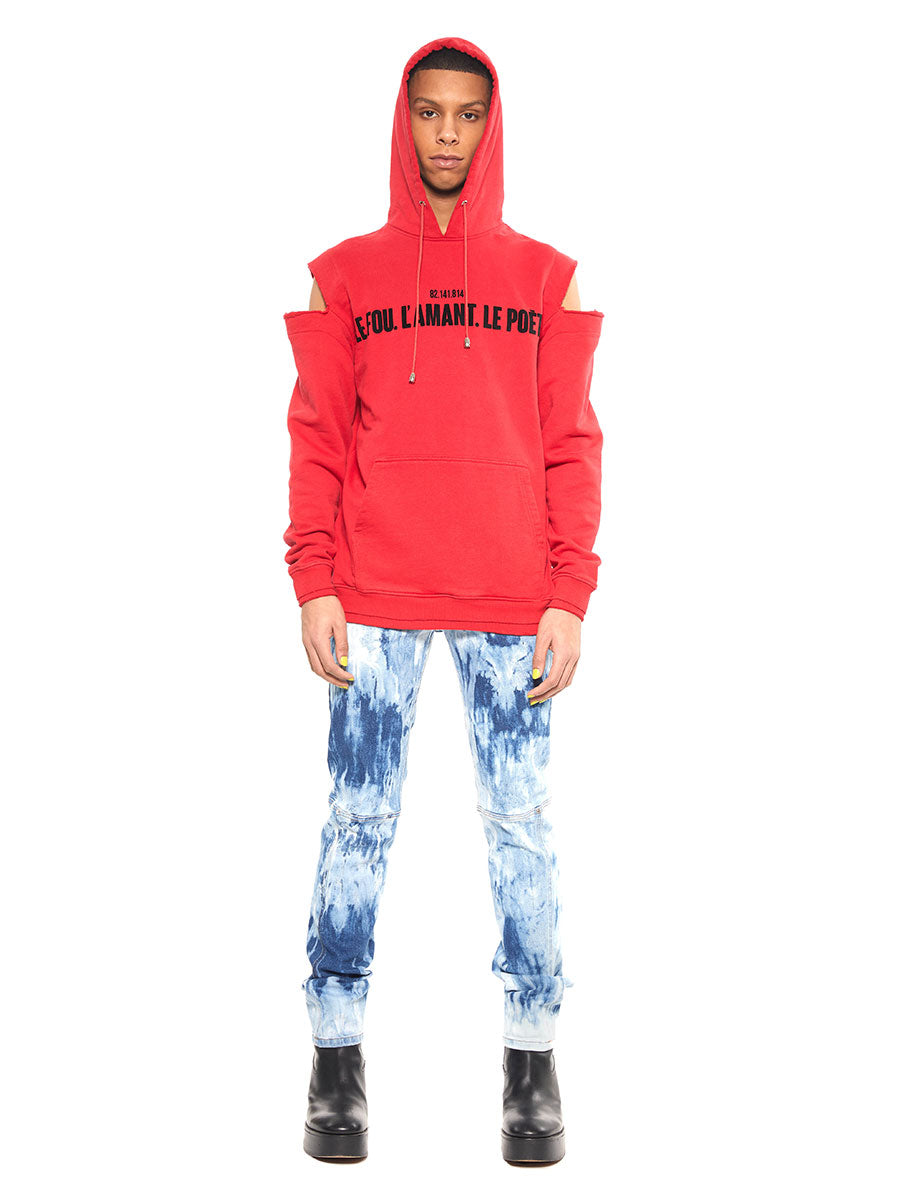 Icosae red shoulder cut-out hoodie - 4