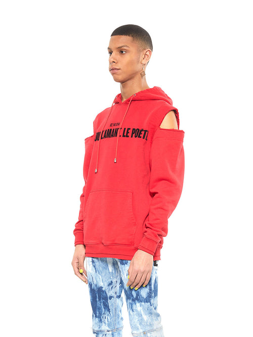 Icosae red shoulder cut-out hoodie - 2