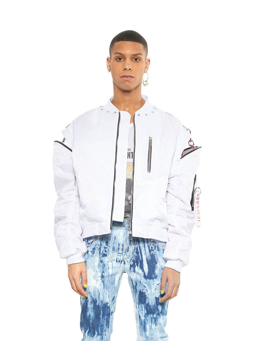 Icosae white zip shoulder bomber jacket - 1